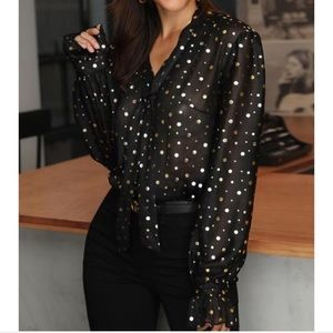 Black blouse with gold polka dots